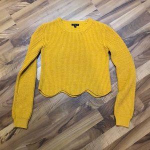 Dynamite Golden Knit Long Sleeve Scalloped Sweater
